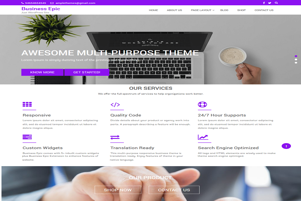 Business epic best free WordPress theme