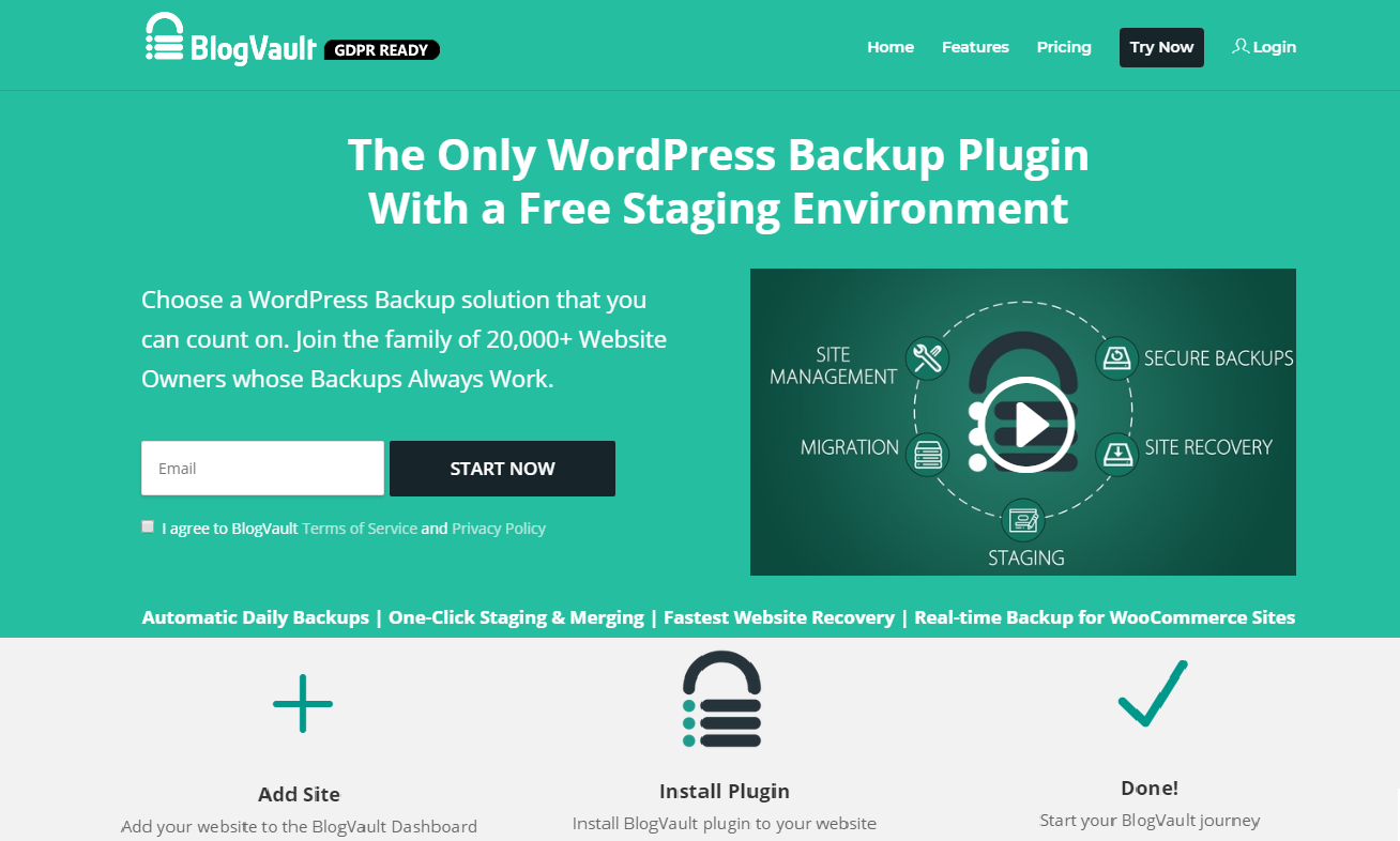 Blogvault wordPress backup plugins